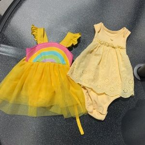Yellow and rainbow 🌈 baby girl dresses bundle